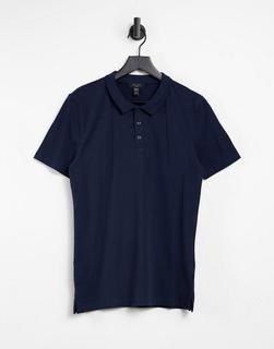 New Look - Muskel-Polohemd in Marineblau