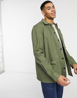 Burton Menswear - Hemdjacke in Khaki mit 3 Taschen-Grün