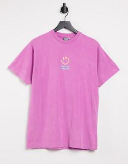Crooked Tongues - T-Shirt mit Crooked-Markenprint in leuchtendem Rosa
