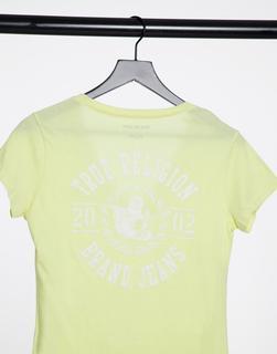 TRUE RELIGION - T-Shirt mit Logo und tiefem V-Ausschnitt in Gelb