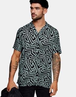 Topman - Hemd mit Labyrinth-Print in Schwarz und Blaugrün