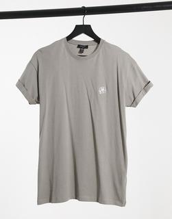 New Look - Hellgraues T-Shirt mit Rosenstickerei