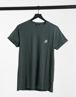 New Look - T-Shirt in Dunkelgrün mit Rosenstickerei