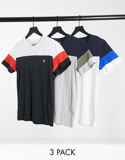 Jack & Jones - 3er-Set T-Shirts mit regulärer Passform und Blockdesign auf der Brust-Mehrfarbig