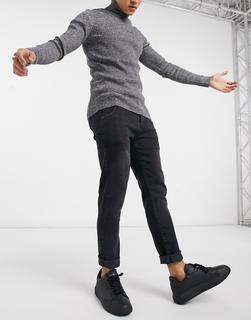 SikSilk - Jeans aus recyceltem Denim mit geradem Bein in Schwarz
