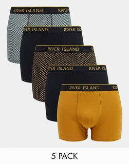 River Island - Unterhosen mit geometrischem Muster im 5er-Pack, in Senfgelb