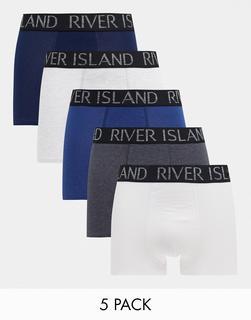 River Island - Blaue Hüftslips im 5er-Pack