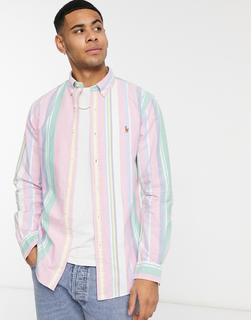 Polo Ralph Lauren - Bund gestreiftes, schmal geschnittenes Button-down-Oxford-Hemd mit Polospieler-Logo in Rosa/Grün-Mehrfarbig