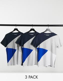 Jack & Jones - T-Shirt mit gespleißtem Print in regulärer Passform in Blau und Grau-Schwarz