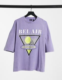 ASOS DESIGN - Oversize-T-Shirt mit Tennis-Print vorne in verwaschenem Violett