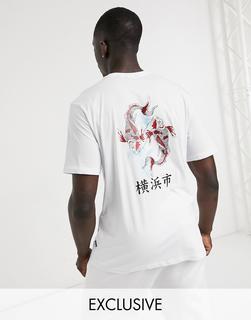 Only & Sons - Oversize-T-Shirt mit Koi-Rückenprint in Weiß, exklusiv bei ASOS