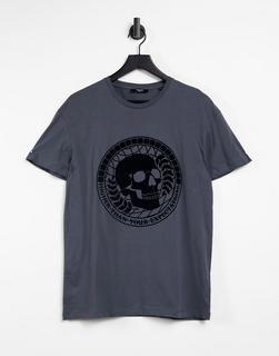 Jack & Jones - Premium – T-Shirt mit beflocktem Totenkopf-Print in Grau