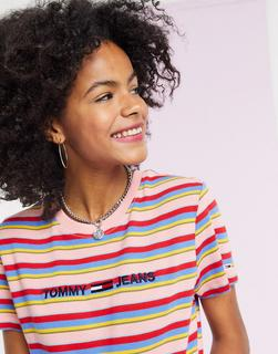 Tommy Jeans - Bunt gestreiftes T-Shirt mit Logo-Mehrfarbig