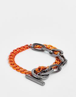 WFTW - Armband mit unterschiedlich großen Gliedern in Orange-Grau