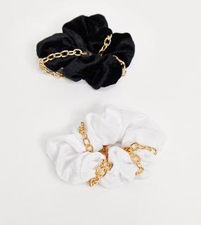My Accessories - London – Exklusive Scrunchies aus Samt mit Kettendetails im 2er-Pack-Mehrfarbig