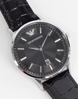 Emporio Armani - AR 11186 – Armbanduhr in Schwarz aus Leder