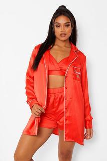 """boohoo - Womens Set Aus Satin Mit Bralette-Shirt Und Shorts Mit """"December 25Th""""-Print - Rot - 38, Rot"""