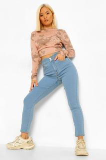 boohoo - Womens Petite Waist Detail Skinny Jeans - Light Blue - 40, Light Blue