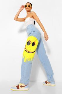 boohoo - Womens Smiley Print Baggy Boyfriend Jeans - Light Blue - 32, Light Blue