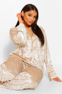 boohoo - Womens Plus Button Up Crushed Velvet Trouser Pj Set - Champagne - 42, Champagne