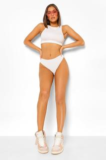 boohoo - Womens Contrast Stitch Ribbed High Waisted Knickers - White - 34, White