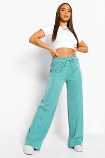 boohoo - Womens Piping Detail Wide Leg Luxe Jogger - Turquoise - 42, Turquoise
