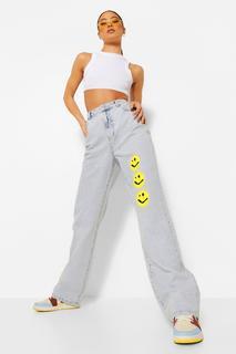 boohoo - Womens Smiley Acid Wash Loose Fit Jeans - Vintage Wash - 36, Vintage Wash