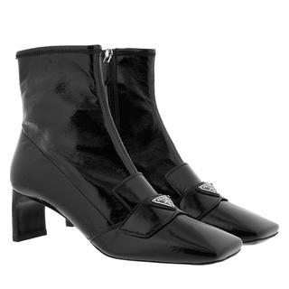 Prada - Boots - Square Toe Heeled Ankle Boots Leather Black - in schwarz - für Damen