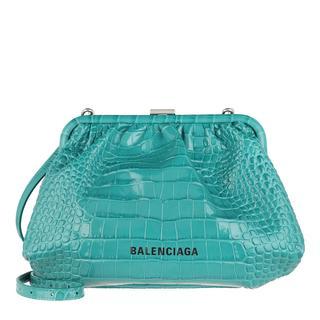 balenciaga - Umhängetasche - Cloud Clutch With Strap Croc Print Leather Dark Turquoise - in teal-cyan - für Damen