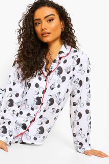 boohoo - Womens Disney 101 Dalmatiner Pyjama-Set Aus Shirt Und Hose - Weiß - 34, Weiß