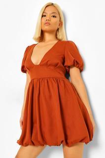 boohoo - Womens Petite Puff Ball Sleeve And Hem Skater Dress - Rust - 32, Rust