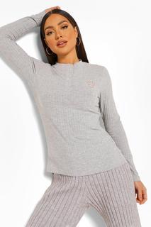 boohoo - Womens Mix And Match Geripptes Pyjama-Top Mit Zuckerstangen-Print - Grau - 36, Grau