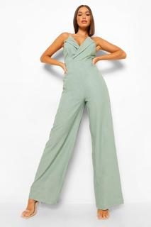 boohoo - Womens Strukturierter, Enganliegender Jumpsuit - Green - 32, Green