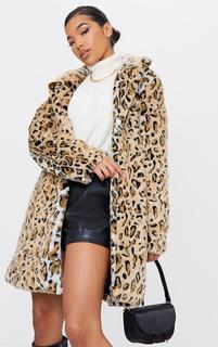 PrettyLittleThing - Brown Faux Fur Leopard Midi Coat, Brown