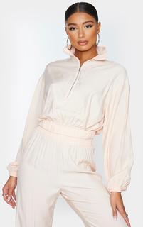 PrettyLittleThing - Light Pink Woven Zip Funnel Neck Lightweight Jacket, Light Pink