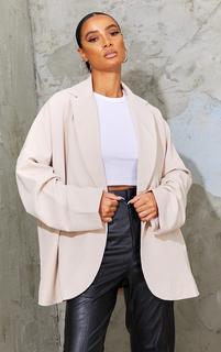PrettyLittleThing - Cream Woven Drop Shoulder Oversized Dad Blazer, White