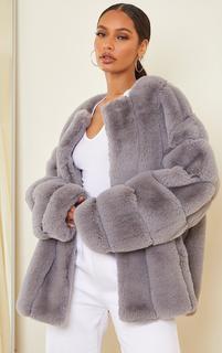 PrettyLittleThing - Grey Premium Faux Fur Vertical Bubble Coat, Grey