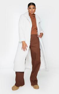 PrettyLittleThing - Cream Long Teddy Faux Fur Belted Coat, White