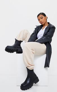 PrettyLittleThing - Black Wide Fit Chunky Chelsea Biker Boots, Black