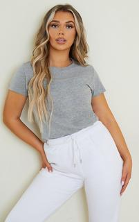 PrettyLittleThing - Grey Fitted Short Sleeve T Shirt, Grey