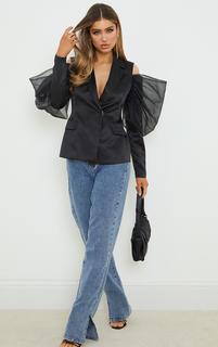 PrettyLittleThing - Black Woven Cut Out Puff Sleeve Blazer, Black