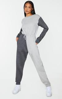 PrettyLittleThing - Grey Colour Block Sweat Jumpsuit, Grey