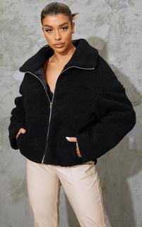 PrettyLittleThing - Black Zip Front Oversized Borg Jacket, Black