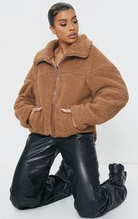 PrettyLittleThing - Camel Zip Front Oversized Borg Jacket, Camel