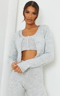PrettyLittleThing - Light Grey Cozy Knit Button Up Cardigan, Grey