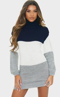 PrettyLittleThing - Navy Colour Block Chunky Roll Neck Jumper Dress, Blue
