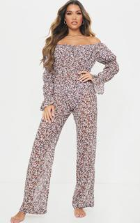 PrettyLittleThing - Multi Ditsy Floral Flare Sleeve Wide Leg Beach Jumpsuit, Multi