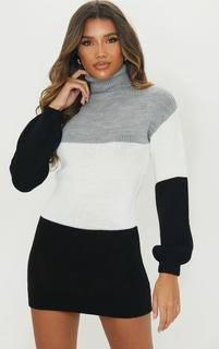 PrettyLittleThing - Grey Colour Block Chunky Roll Neck Jumper Dress, Grey