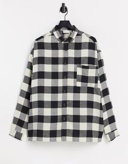 ASOS DESIGN - Oversize-Flanellhemd mit Kariertomuster in Schwarz/Weiß
