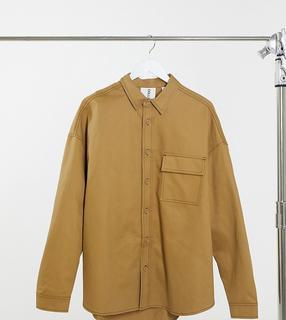Collusion - Oversized-Hemd im Utility-Look mit überschnittenen Schultern in Beige, Kombiteil aus Twill